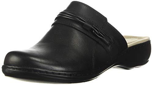 Clarks Women's Leisa Clover Clog Black Leather 10 Wide