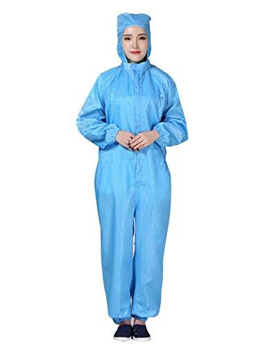 Abollria Schutzkleidung Overall/Zweiteilig Maleranzug Wiederverwendbar Arbeitskleidung Staubdichter Antistatisch Streifen mit Kapuze (Blau-1, XXL)