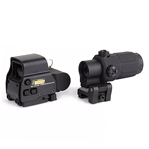 AKFIRE 558 Red/Green Dot Holographic Sight Scope + G33 Magnifying Glass, Quick Release Holographic Rollover Multiplier