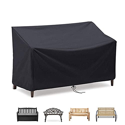 POMER Garden Bench Covers 2 Seater, Waterproof and Anti-UV Durable Fabric Outdoor Patio Loveseat Cover for 2/3 Patio Sofa