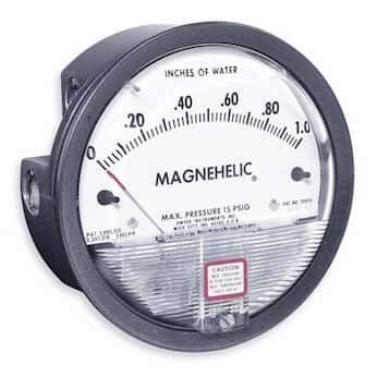 "Dwyer Magnehelic Series 2000 Differential Pressure Gauge, Range 0.05-0-0.20""WC"