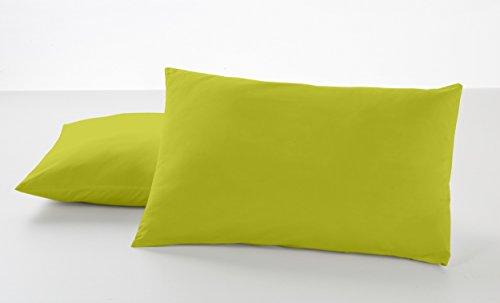 Estela Combi Liso Taie d'oreiller 50 % coton/50 % polyester 144 fils Différentes tailles et couleurs 50x80 cm (2 ud.) pistache