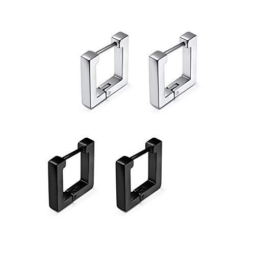 Zysta Juego de pendientes unisex de acero inoxidable con forma geométrica de círculo cuadrado triangular rectangular con corazón hexagonal redondo negro y plateado 2paia Quadrato