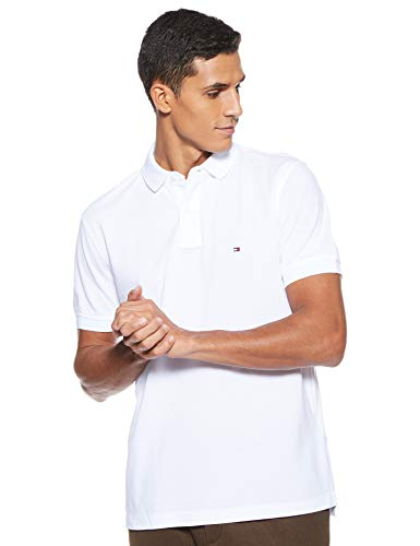 Tommy Hilfiger Core Tommy Regular Polo, Weiß (Bright White 100), Large para Hombre