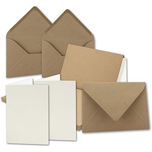 10x Vintage Kraftpapier Falt-Karten Set mit Umschlägen und Einlegern DIN A5-148 x 210 mm - braun - Recycling - blanko I Umwelt by Gustav NEUSER®