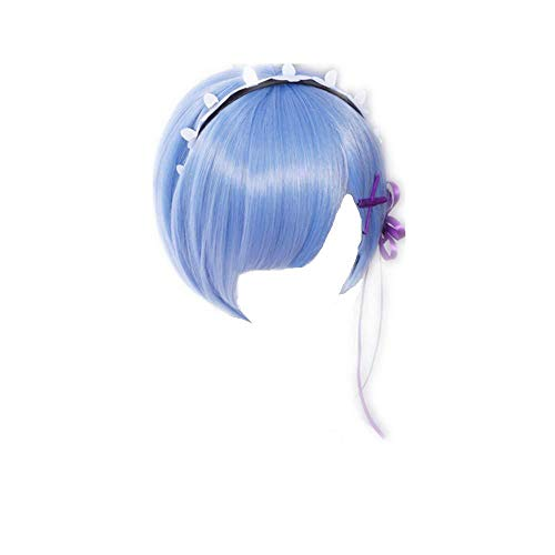 COSPLAZA pelucas Cosplay peluca Re: Zero kara Hajimeru Isekai Seikatsu Rem pelo corto azul Anime-Azul