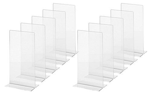 SIGEL TA224 Tischaufsteller gerade, für DIN lang, 10 Stück, glasklar Acryl - weitere Größen