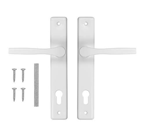 ADGO Juego de manillas de puerta 90 para izquierda y derecha, picaporte de aluminio y acero galvanizado, un mango estrecho en un plato largo pintado (color blanco)