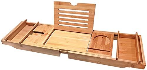 Bandeja de baño de bambú natural con soporte de baño con lados extensibles Soporte de copa de vino integrado Asas antideslizantes Soporte de baño de madera Puente de baño de madera, doble blanco