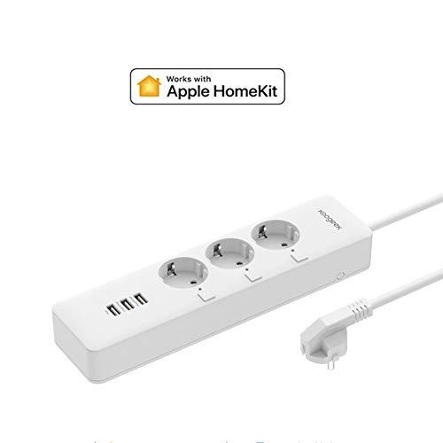 Homekit Steckdosenleiste, Koogeek Wifi Smart Mehrfachsteckdose Funktioniert mit Apple Homekit-Fernbedienung, Zeiteinstellung, Stromstatistik, unabhängige Steuerung