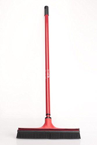 V7 Universal-Kehrbesen, V-Besen mit V-förmigen Borsten, Teleskop-Stiel und Gummilippe zum mühelosen Entfernen von Tier-, Haaren, Staub, Schmutz, Wasser, rot