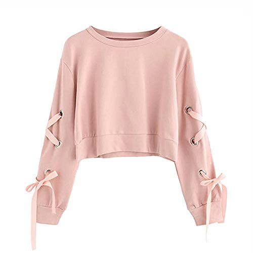 Frauen Sweatshirt,Teenage Mädchen Casual Lace Up Langarm Pullover Crop Top Moginp (M, Rosa)