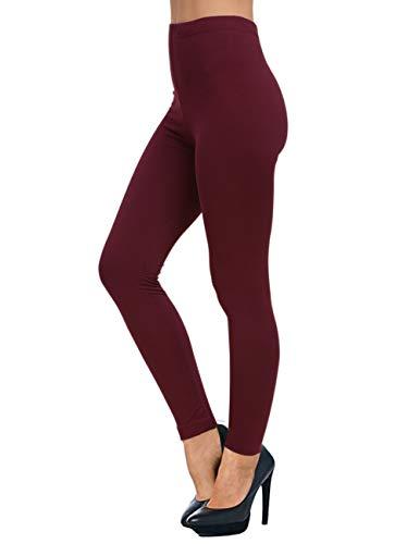 AUSELILY Pantalón de cintura alta para mujer Leggings suaves y cómodos(EU 50-56,Vino Rojo)