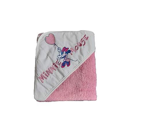 Accappatoio triangolare bianco/fuxia Disney baby art.WB7010 disegni assortiti Minnie/topolina diversi in base alla stagionalità