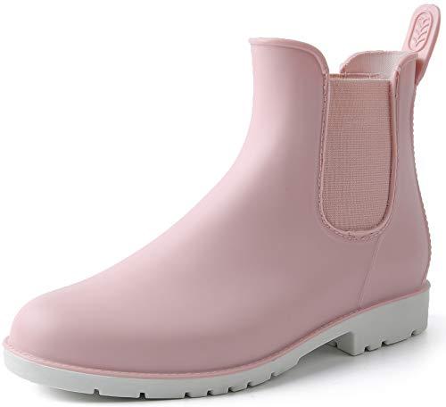 Gummistiefel Damen Kurzschaft Regenstiefel Wasserdicht Lack Regenschuhe Frauen Gummistiefeletten Ankle Chelsea Boots mit Blockabsatz Rosa Gr.37
