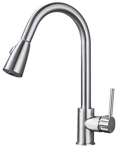 Saeuwtowy - Grifo de cocina con doble función, mezclador de cocina con boquilla orientable 360 ° y 3 modos de pulverización, mezclador de cocina de acero inoxidable