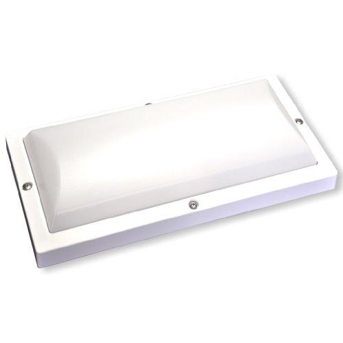 LED Decken-/Wandleuchte für Außenbereich mit 24 LEDs - Tageslicht (5000K) - 17W - Helligkeit einstellbar - Alu-Druckguß Gehäuse (weiß)