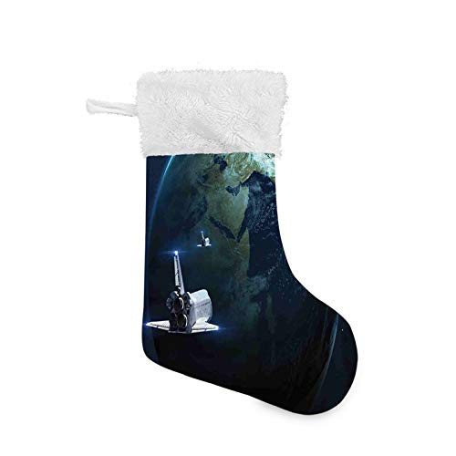 Jieaiuoo Christmas Stocking Hanging Decoration,Spaceship Return to Earth Science Fiction World Backdrop Space Craft Travel,Christmas Holiday Ornaments Home Decor Toys Candy Gift Bag