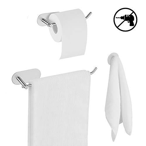 UMI. Essentials Handtuchhalter, Toilettenpapierhalter und Haken ohne Bohren, selbstklebend mit 3M-Kleber, aus Edelstahl 304, Badzubehör Set aus 3 Stücken, Badezimmer Set -Silber