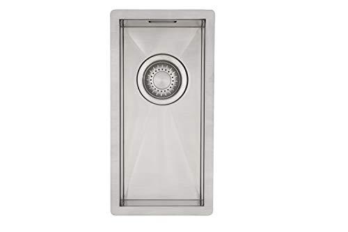 Kleines Spülbecken für Küche | MIZZO Quadro Edelstahlspüle 180-400 flächenbündig/Unterbau | Spüle klein