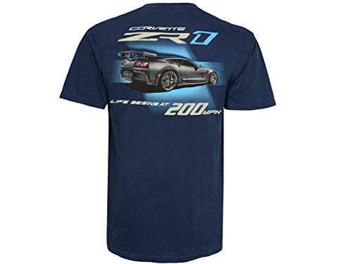 2019 C7 Corvette ZR1 Life Begins at 200 MPH Dark Blue T-Shirt (Large)