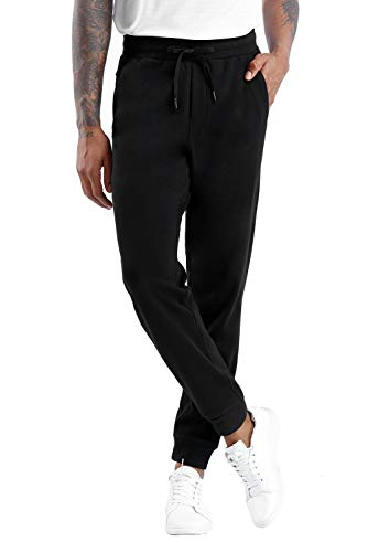 THE GYM PEOPLE Men's Fleece Joggers Pants with Deep Pockets Athletic Loose-fit Sweatpants for Workout, Running, Training (Large, Lightweight Basic-Black)