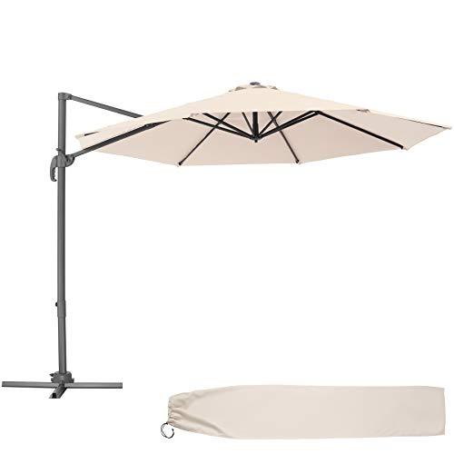 TecTake 800684 - Parasol Excéntrico de Jardín, Mástil de Aluminio con Manivela, Protección UV 50+, 6 Niveles de Inclinación, Ø 300 cm (Beige | No. 403133)