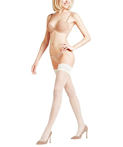 FALKE Damen Stay Ups Seidenglatt 15 Denier - Transparente, Leicht Glänzend, 1 Paar, Weiß (Off-White 2059), Größe: L