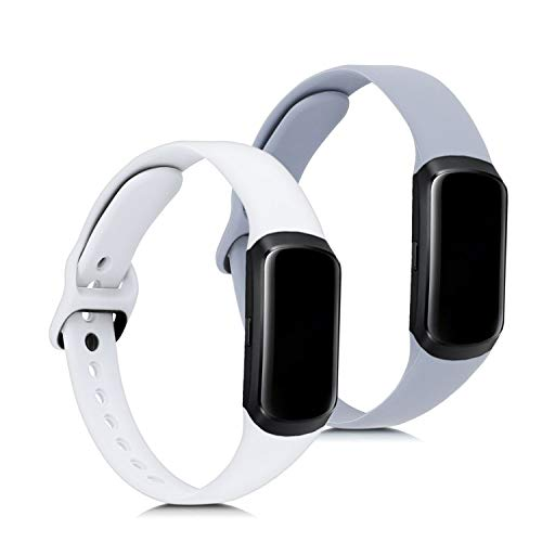 kwmobile 2X Pulsera Compatible con Samsung Galaxy Fit (SM-R370) - Brazalete de Silicona Blanco/Gris sin Fitness Tracker