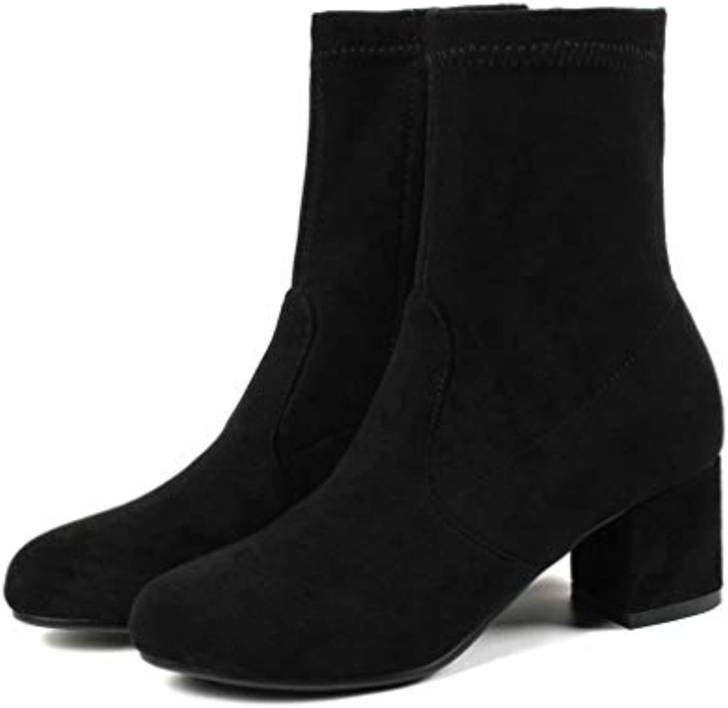 T-JULY Women shoes Round Toe Square High Heels Ankle Boots Synthetic Autumn Woman Boots Ankle Boots
