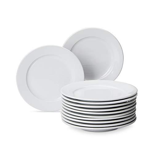 AmazonCommercial - Juego de 12 platos llanos de porcelana de borde ancho, 19,05cm, color blanco
