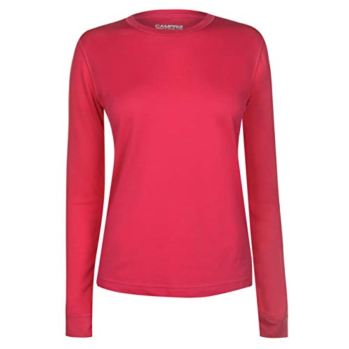 Campri Femme Thermique Baselayer Top T-Shirt Haut Sport Manche Longue Col Rond Noir 20 (XXXL)