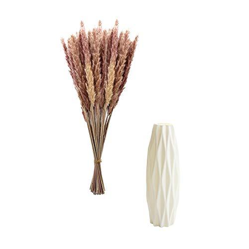 MUMEOMU 30 Stück Pampasgras Getrocknet Künstlich Groß Trockenblumen Deko mit Vasen für Pampasgras, Natürlich Pampasgras Blumenstrauß Strauß Blumen Pampas Deko für Hochzeit Home Decoration
