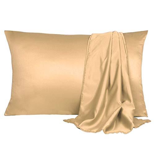 YeVhear - Juego de 2 fundas de almohada de satén de seda para el cabello y la piel, frescas y sedosas y suaves, de 20 x 30 cm, con cierre de sobre.