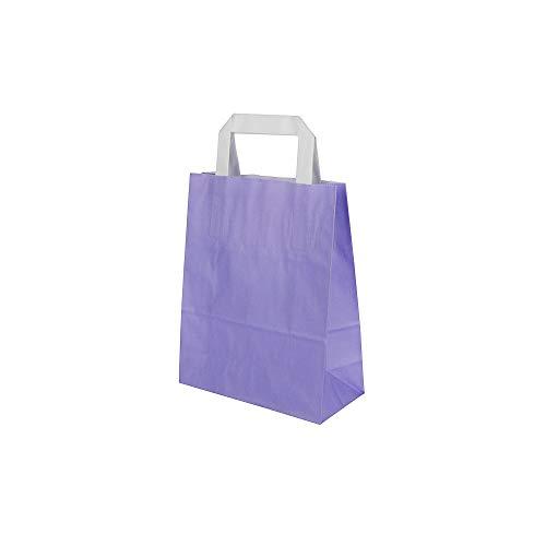BIOZOYG Papiertragetaschen mit Flachhenkel 70g 18+8x22cm I Feste Papier Tüten Kraftpapier I Geschenktüten groß Give Aways Party Tüten I Papierbeutel Blockboden 25 Papiertaschen violett