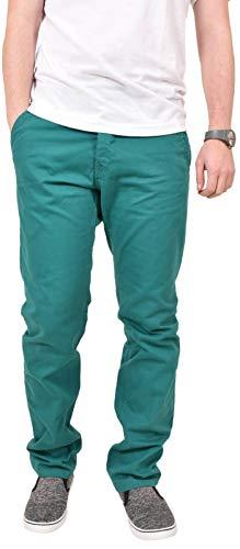 Kushiro - Pantaloni chino a gamba diritta, in cotone spigato, aderenti, da uomo Tide Pool 34W x 31L