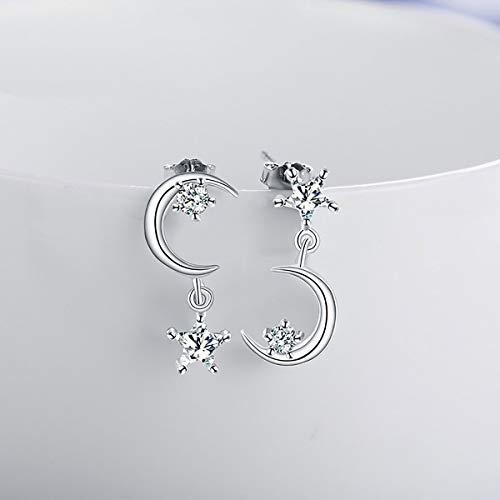 Nihlsfen Diseño asimétrico Luna Estrella Pendientes Femeninos Pendientes Colgantes para Mujer Moda joyería Personalizada Regalo de cumpleaños