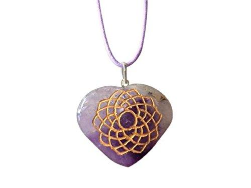 Artesanía artesanal de piedras preciosas naturales hechos a mano en forma de corazón Chakra símbolo colgante - Amatista aventurina lapislázuli collares de jaspe - en BellaMira caja de regalo