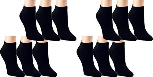 Vitasox 15021 Chaussettes sneakers femme en coton sans couture unies 12 paires noires 35 38