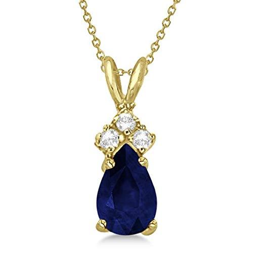 Birne Saphir & Diamant Solitaire Anhänger 14k Gelbgold (0.75ct) Halskette, 14k Gold Anhänger