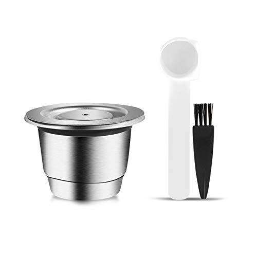 i Cafilas Capsula ricaricabile Nespresso riutilizzabile in acciaio inox, capsula filtro da caffè riutilizzabile per Nespresso, cucchiaio da caffè + spazzola