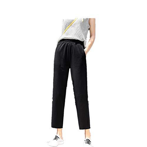 NOBRAND - Pantalones cortos de seda de hielo para mujer, pantalones sueltos, rectos, finos en primavera y verano Negro Negro ( XX-Large