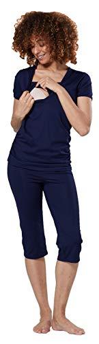 HAPPY MAMA Femme Maternité Pyjamas Ensemble Nuit - Haut Pantalons 1014 (Marine, 36, S)