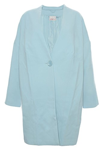 Sheego Mantel Gehrock Blazer Jacke Oversize Look Damen Plusgröße Lagenlook, Farbe:hellblau, Damengrößen:50