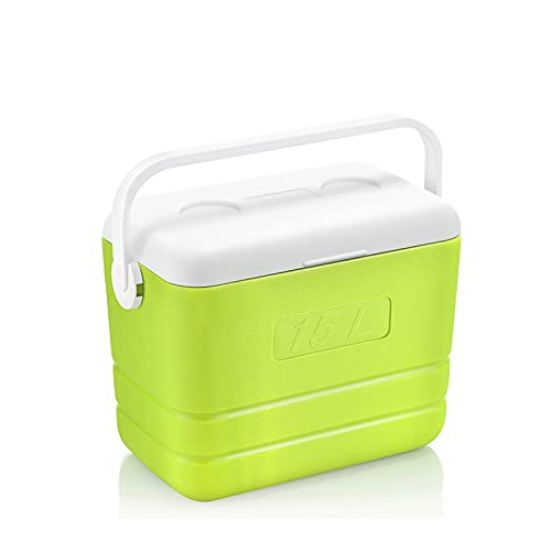 DAGCOT Caja de refrigerador portátil Caja Fuerte con Hielo Caja con Aislamiento de Hielo con Cabina de Mango para Camping Boating Beach Road Trips 15L / 13.6 Cuarto de galón (Color : Light Green)