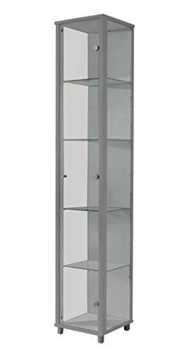 BR-Wohndesign - Vitrina de Cristal para coleccionistas, Vitrina con 4 baldas de Cristal, Altura Regulable, Cristal ESG, Color Plateado