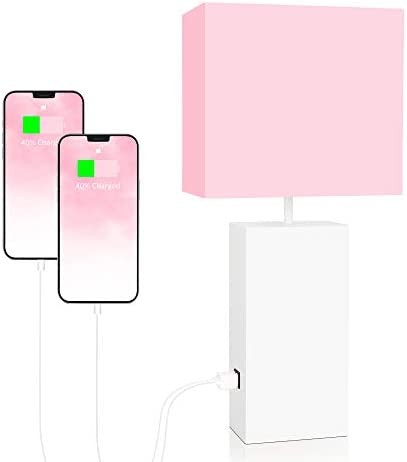 Touch Control Pink Table Lamp 2 USB Charging Ports 3 Way Dimmable Bedside Nightstand Lamp with product image