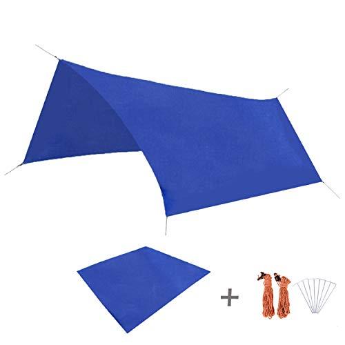 TRIWONDER Waterproof Hammock Rain Fly Tent Tarp Footprint Camping Shelter Sunshade Mat for Outdoor Hiking Beach Picnic (Dark Blue, L+Accessories)