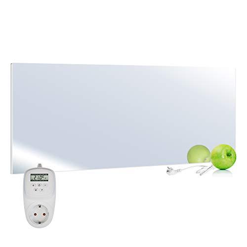 VIESTA H700-SP Calefacción por infrarrojos panel calefactor Carbon Crystal 700 Watt, ultraplano, espejo, Termostato TH12