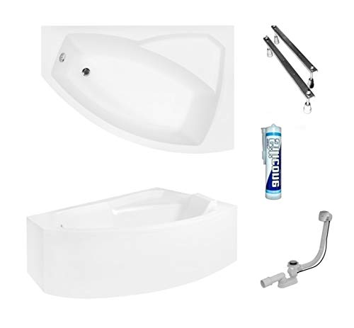 ECOLAM Badewanne Eckbadewanne Acryl Rima weiß 140x90 cm RECHTS + Schürze Ablaufgarnitur Ab- und Überlauf Automatik Füße Silikon Komplett-Set